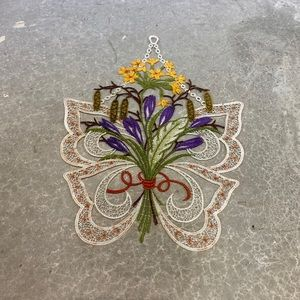Embroidered window wall hanging floral decor